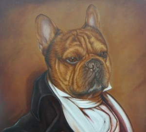 Byron, portrait of French Bulldog  oil painting on canvas