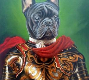 Bulldog francés con armadura