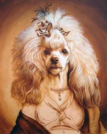retrato Caniche con traje imperio