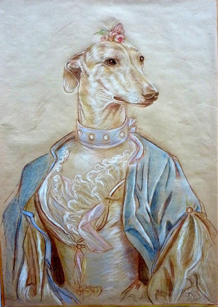 Estudio de Galga dibujo perra Juana en traje XVIII