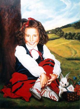 Retrato niña Paula con traje de vasquita