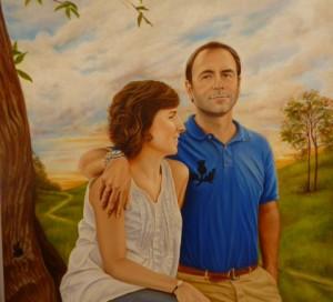 Portrait de couple à l´huile sur toile