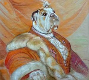 Estudio de Bulldog. Bumba en Traje S. XIX