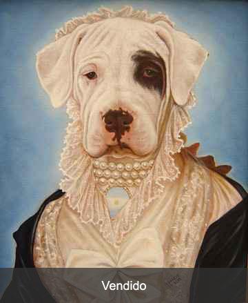 retrato doguita con perlas