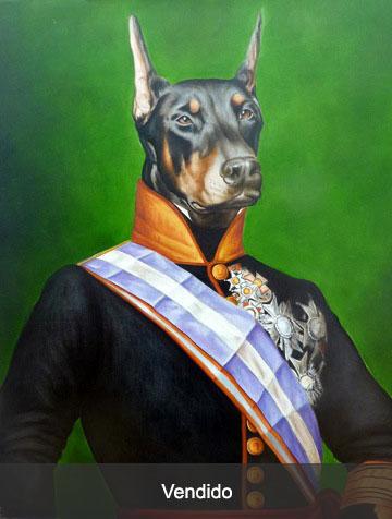 retrato perro Doberman en traje de gala