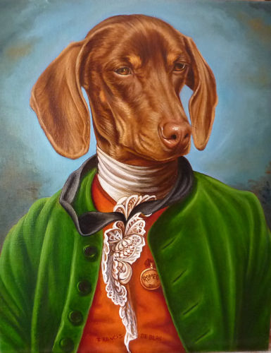 romeo retrato de Teckel al oleo