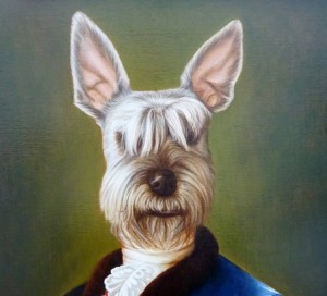 Simon, portrait of  Schnauzer oil painting on canvas