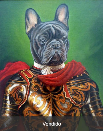 Bulldog-francés-con-armadura-oleo-perro