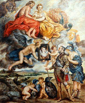 Enrique IV recibe el retrato de María de Médicis