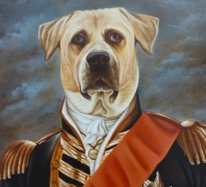 Titán. Retrato de Dogo pintado al óleo con traje de gala