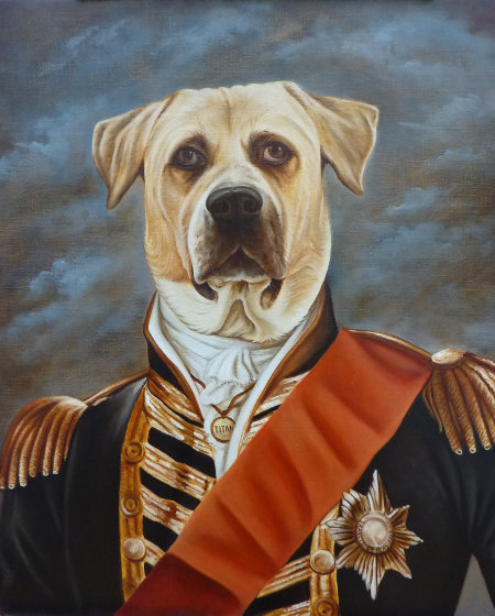 Titán retrato de Dogo vestido traje gala