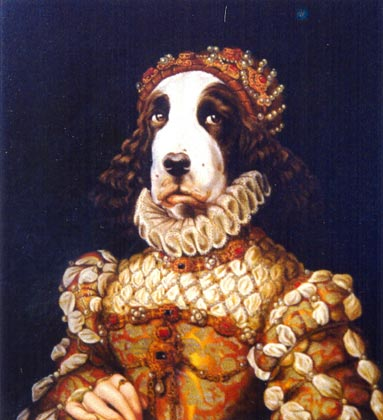 carlota retrato perro cocker oleo