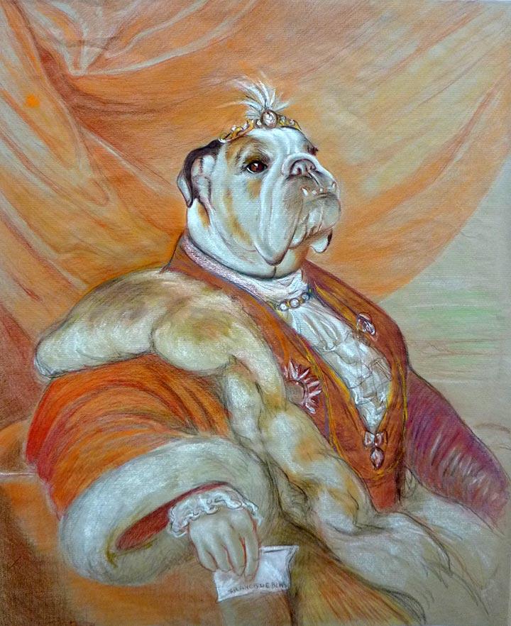 dibujo en venta de Bulldog Bumba en Traje S. XIX