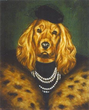 laika cocker retrato oleo sobre lienzo