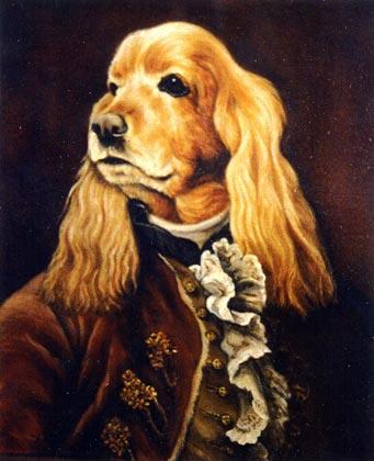 piter retrato perro cocker oleo epoca
