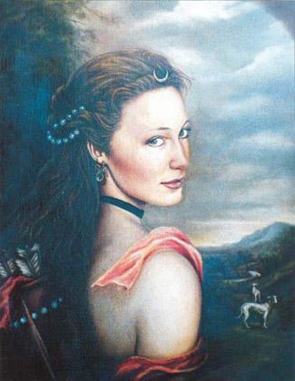 Retrato vestido de época, Diana Widmaier Picasso en Diana Cazadora