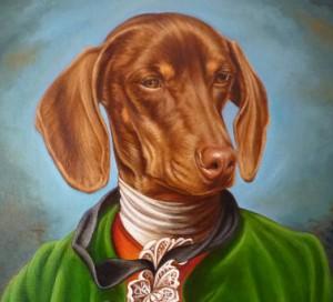 Romeo. Retrato de Teckel vestido con casaca