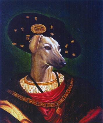 rotko retrato perro al oleo traje y sombrero
