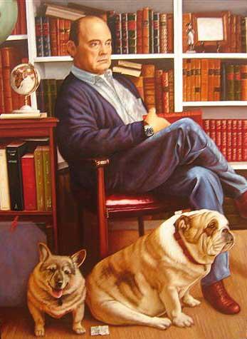 sr obregon retrato con dos perros