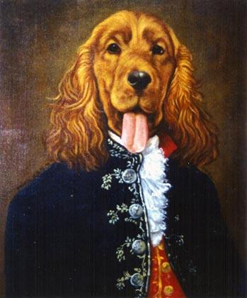 whisky retrato perro cocker al oleo con traje