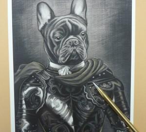 Bulldog con armadura y capa