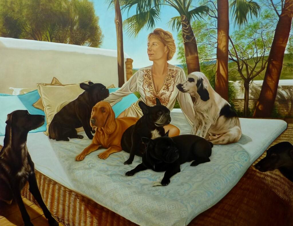 Patrizia con sus siete perros
