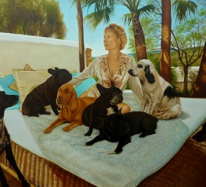 Patrizia with her seven dogs